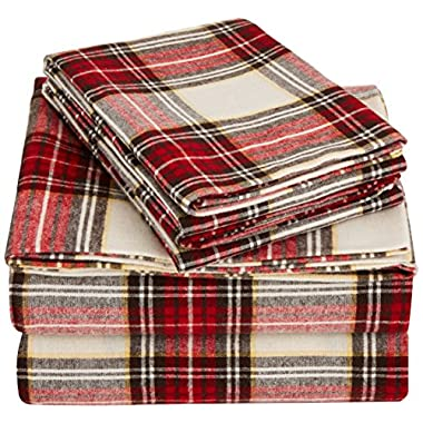 AmazonBasics Yarn-Dyed Lightweight Flannel Sheet Set - Full, Cream/Red Plaid