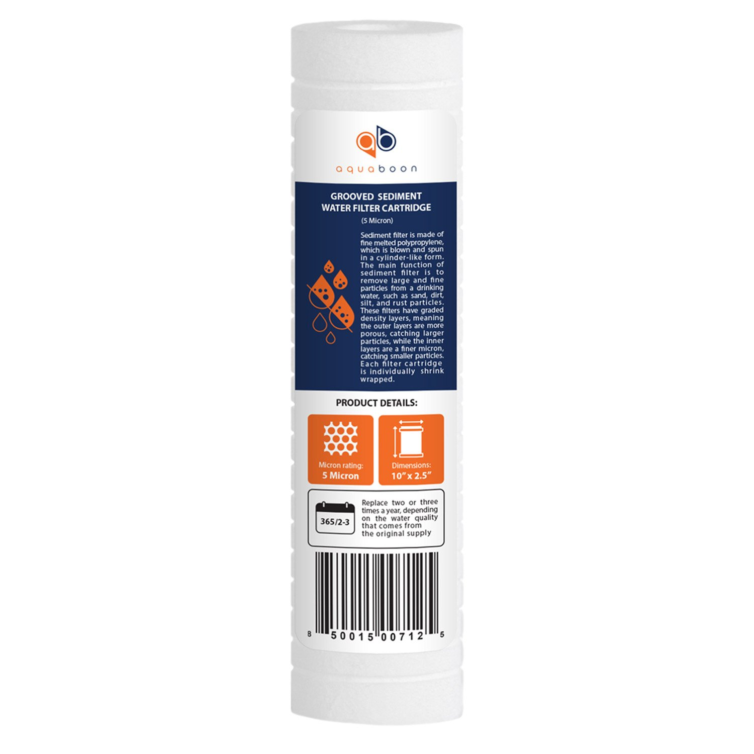 """Aquaboon 5 Micron 10"""" x 2.5"""" Grooved Sediment Water Filter Replacement Cartridge for Any 10 inch RO Unit 