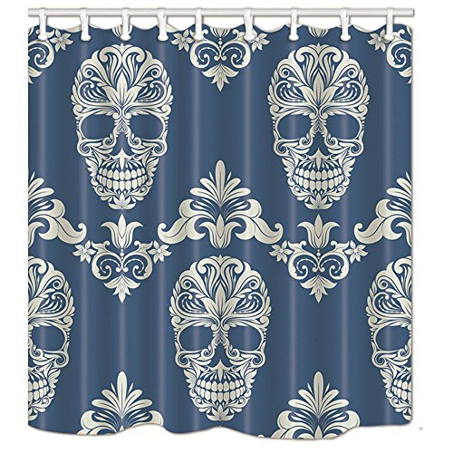 NYMB Sugar Skull on The Blue Background Shower Curtain in Bath 69X70 inches Polyester Fabric Bathroom Fantastic Decorations Horrible Halloween Skull Bath Curtains Hooks Included]()