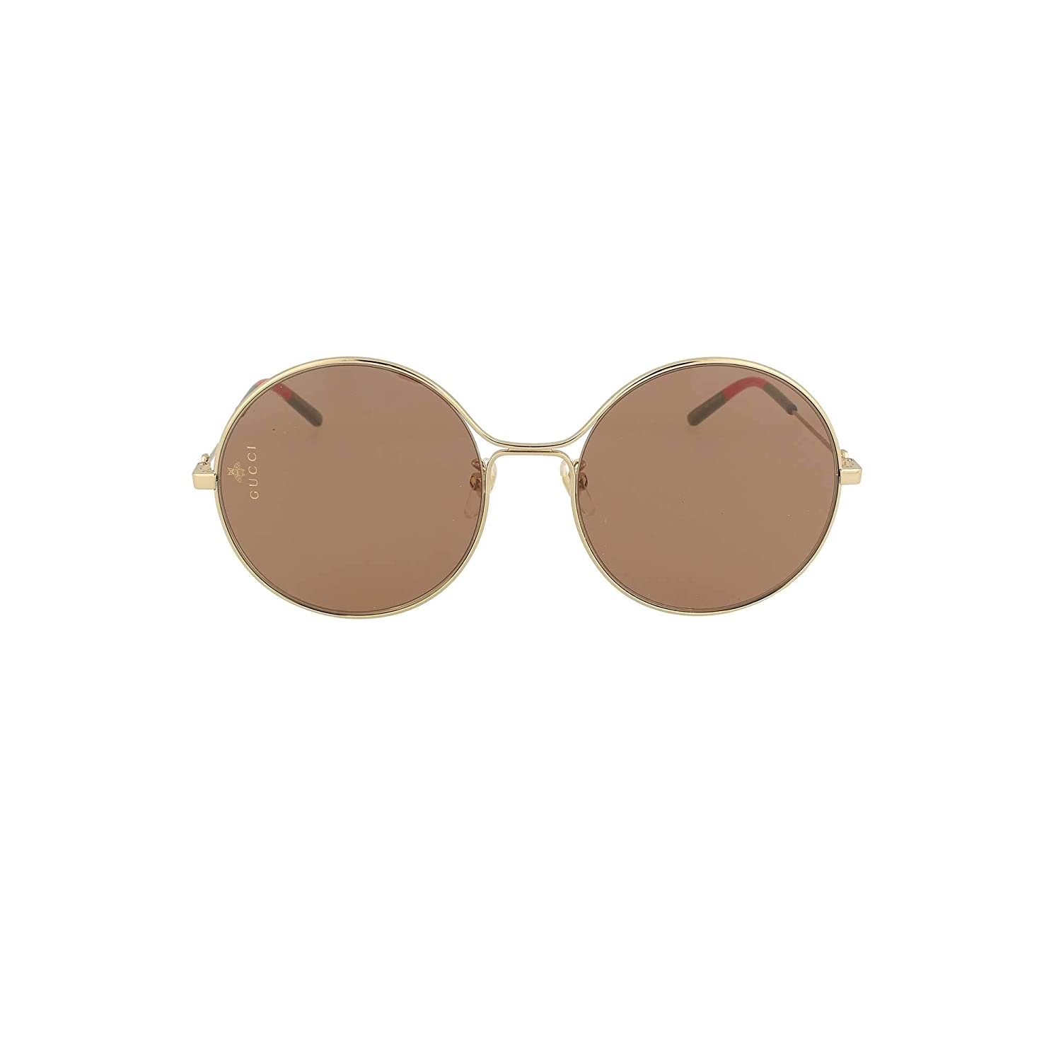 50fd879dd96 Amazon.com  Gucci GG 0395S 002 Gold Metal Round Sunglasses Brown Lens   Clothing