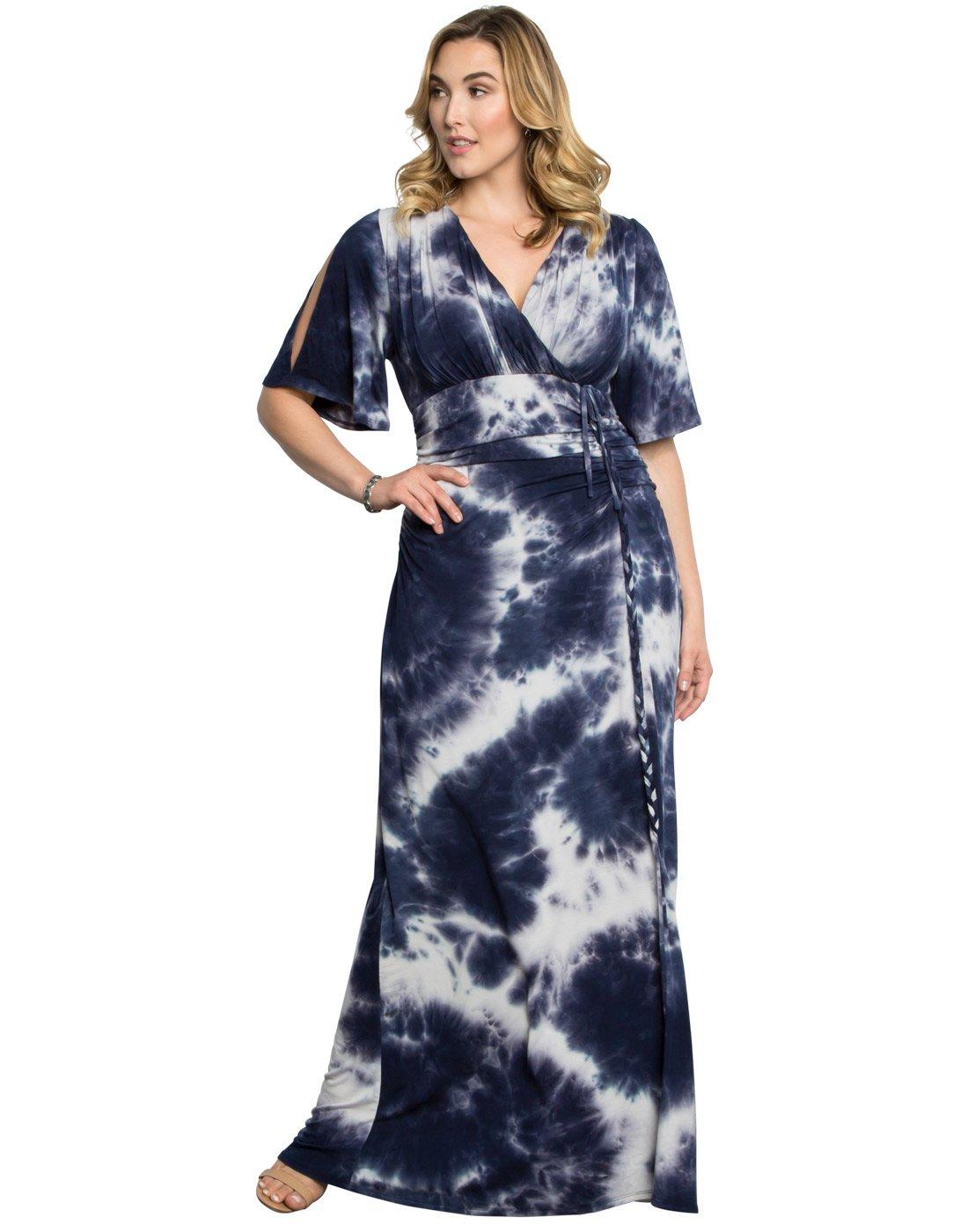 Kiyonna Women's Plus Size Bella Braided Maxi Dress 3X Moonlight Sea