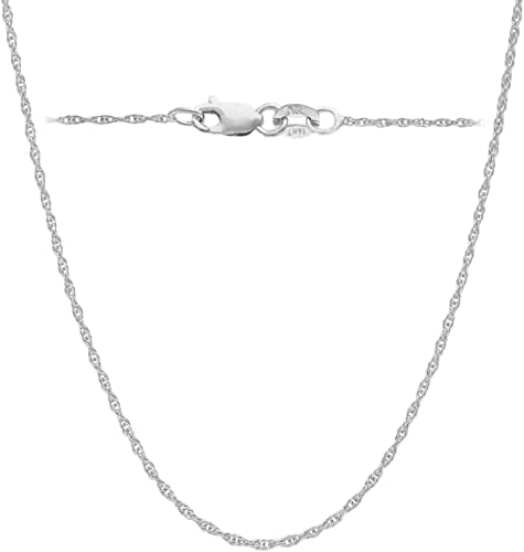 """1MM SOLID 14K WHITE GOLD SHINY ITALIAN BOX CHAIN NECKLACE LOBSTER CLASP 16/""""-24/"""""""