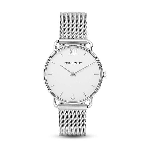 Paul Hewitt Reloj Analógico para Mujer de Cuarzo con Correa en Acero Inoxidable PH-M-S-W-4S: Amazon.es: Relojes