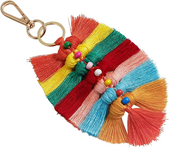 Fashion Multi Color Pompom Ball Tassel Pendant Key Chain Car Bag Charm Accessory