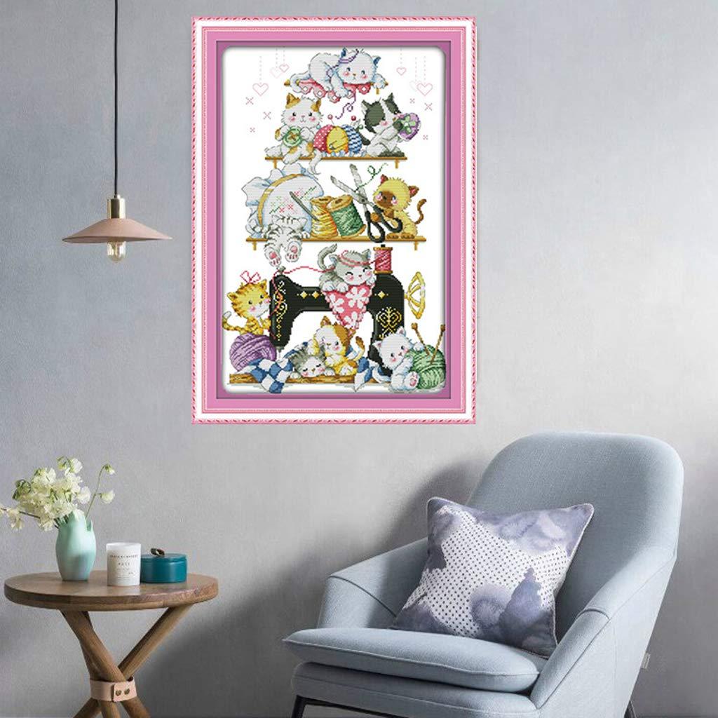 Lustige Katzen fuf N/ähmaschine Muster 35 x 52 cm 14 CT FLAMEER Vorgezeichnete Stickpackung Kreuzstich mit Bamwolle Garn und Anleitung