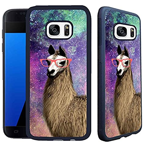 [TeleSkins] - Samsung Galaxy S7 Case - Springink Hipster Cute Llama Geek Glass - Ultra Durable Slim Fit, Protective Plastic with Soft RUBBER TPU Snap On Back Case / (Motorola G Glass Covers)