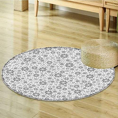 Grey Decor Circle carpet by Nalahomeqq Mix Florals with Rotary Round Rings and Dot Spots on the Backdrop Simplistic Blossom Fabric Room Decor non-slip Extra Cloud-Diameter 130cm(51