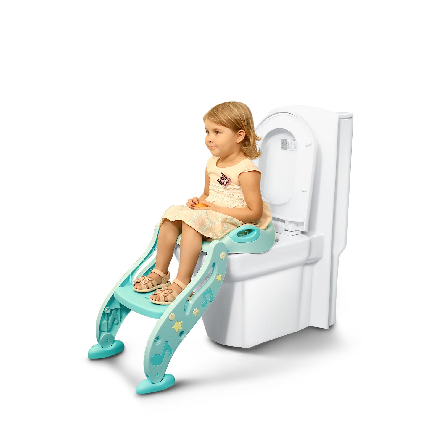 Pea Princess Toddlers Toilet Training Seat for boys and grils,Baby potty training toilet chair seat step, Non-Slip, Sturdy, Easy installation and storage,Adjustable Height, Comfortable Seat,green TDDM
