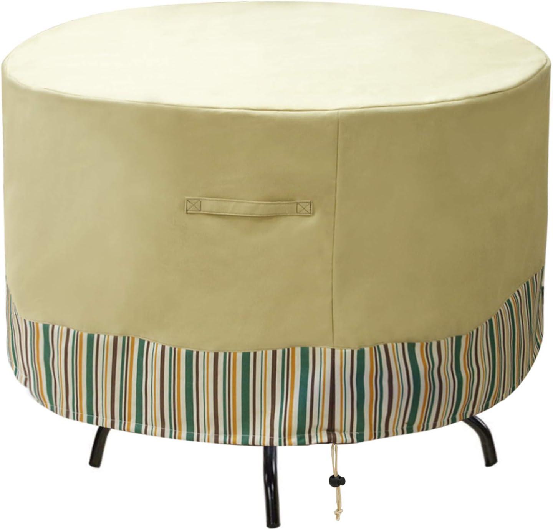 "JLDUP MDSTOP Round Patio Furniture Covers Waterproof, Outdoor Table Chair Set Covers, Anti-Fading Patio Table Cover for Outdoor Furniture Set with Padded Handles (96"" Dia x 27.5"" H, Beige)"