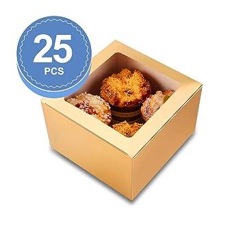 BAKIPACK - Cajas para galletas con ventana (25 unidades, 15,2 x 15 ...