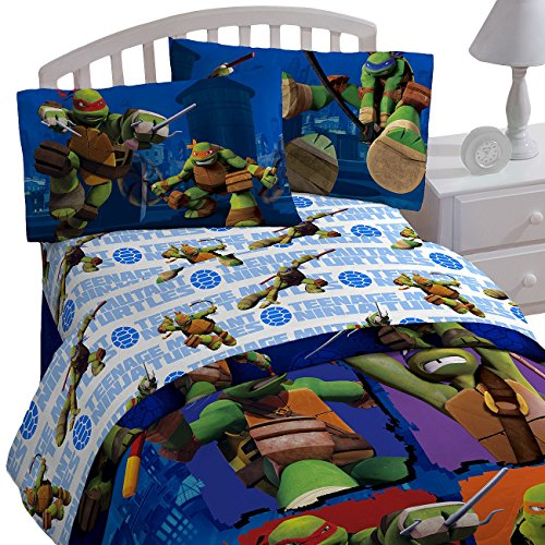 TMNT Ninja Turtles 'City Limits' 3pc Twin Bed Sheet Set (Blue Ninja Turtle Name)