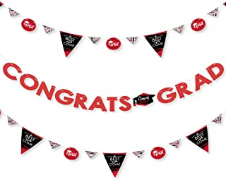 product image for Big Dot of Happiness Red Grad - Best is Yet to Come - 2021 Red Graduation Party Letter Banner Decoration - 36 Banner Cutouts and Congrats Grad Banner Letters