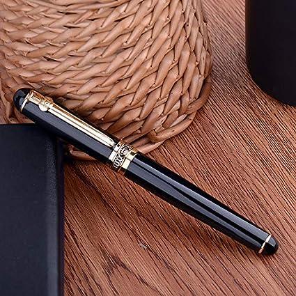 Duke D2 Pluma estilográfica de metal, color negro, clip dorado, punta mediana con estuche para bolígrafos: Amazon.es: Oficina y papelería