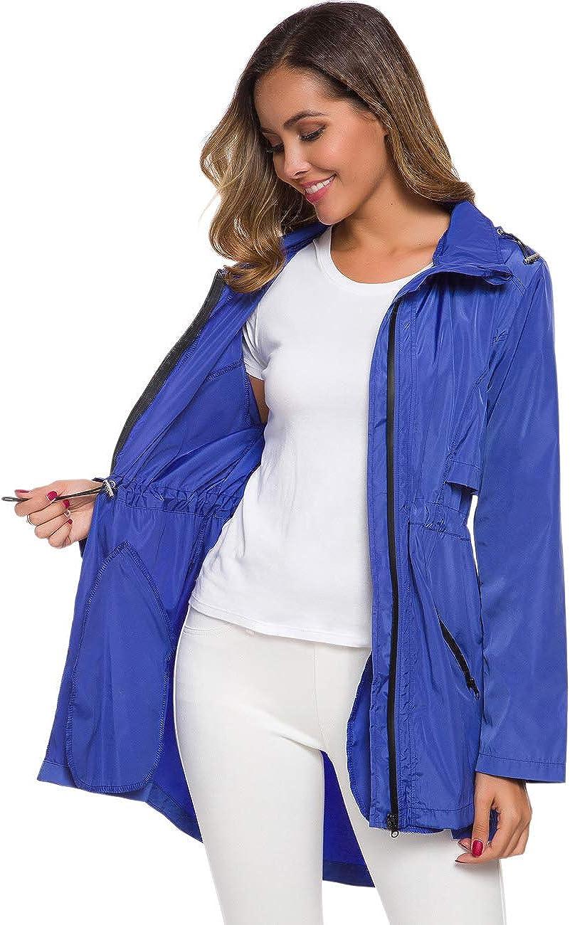 Avoogue Womens Long Raincoat with Hood Outdoor Lightweight Windbreaker Rain Jacket Waterproof