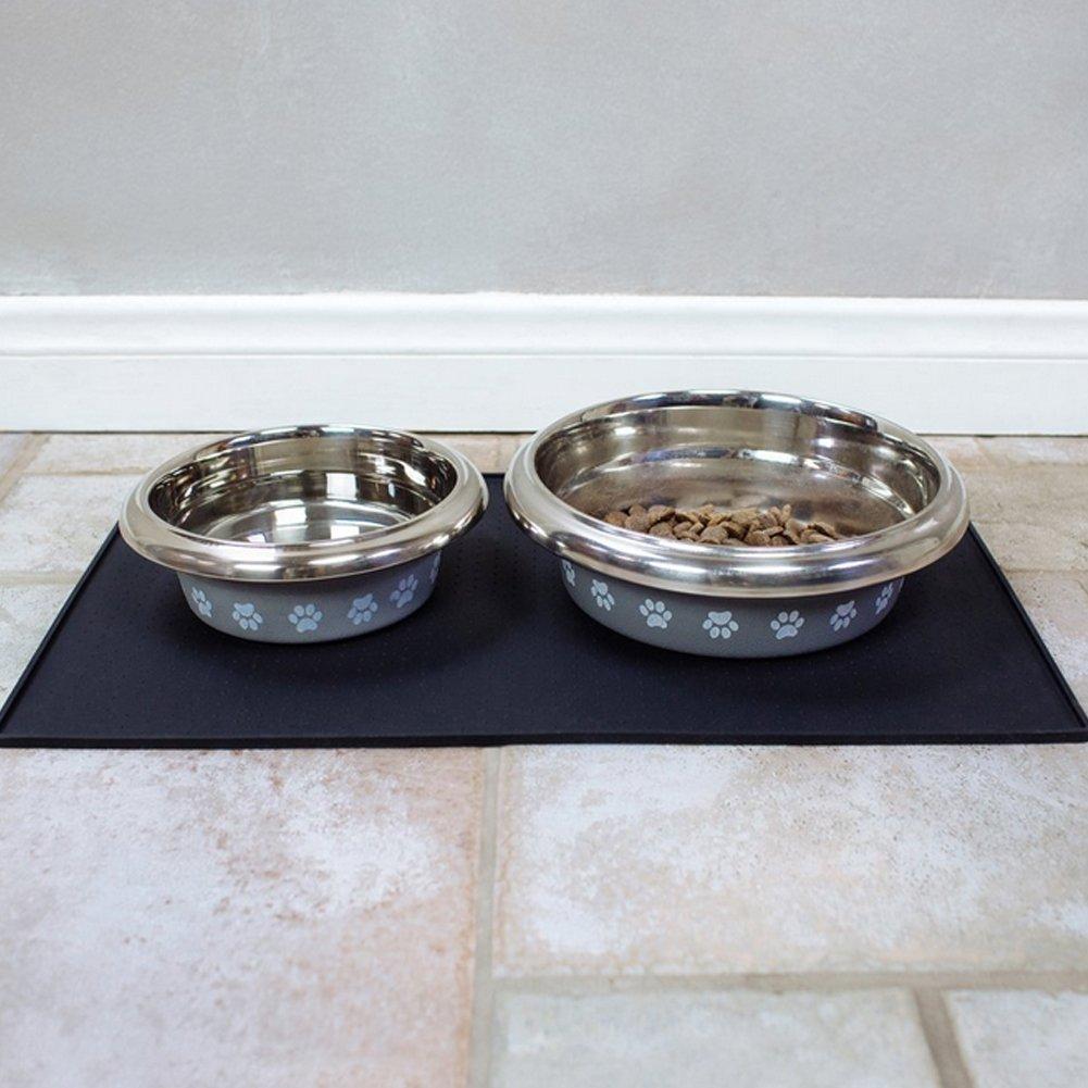 Black l black l Dog Cat Puppy Pet Feed Mat (l, black)