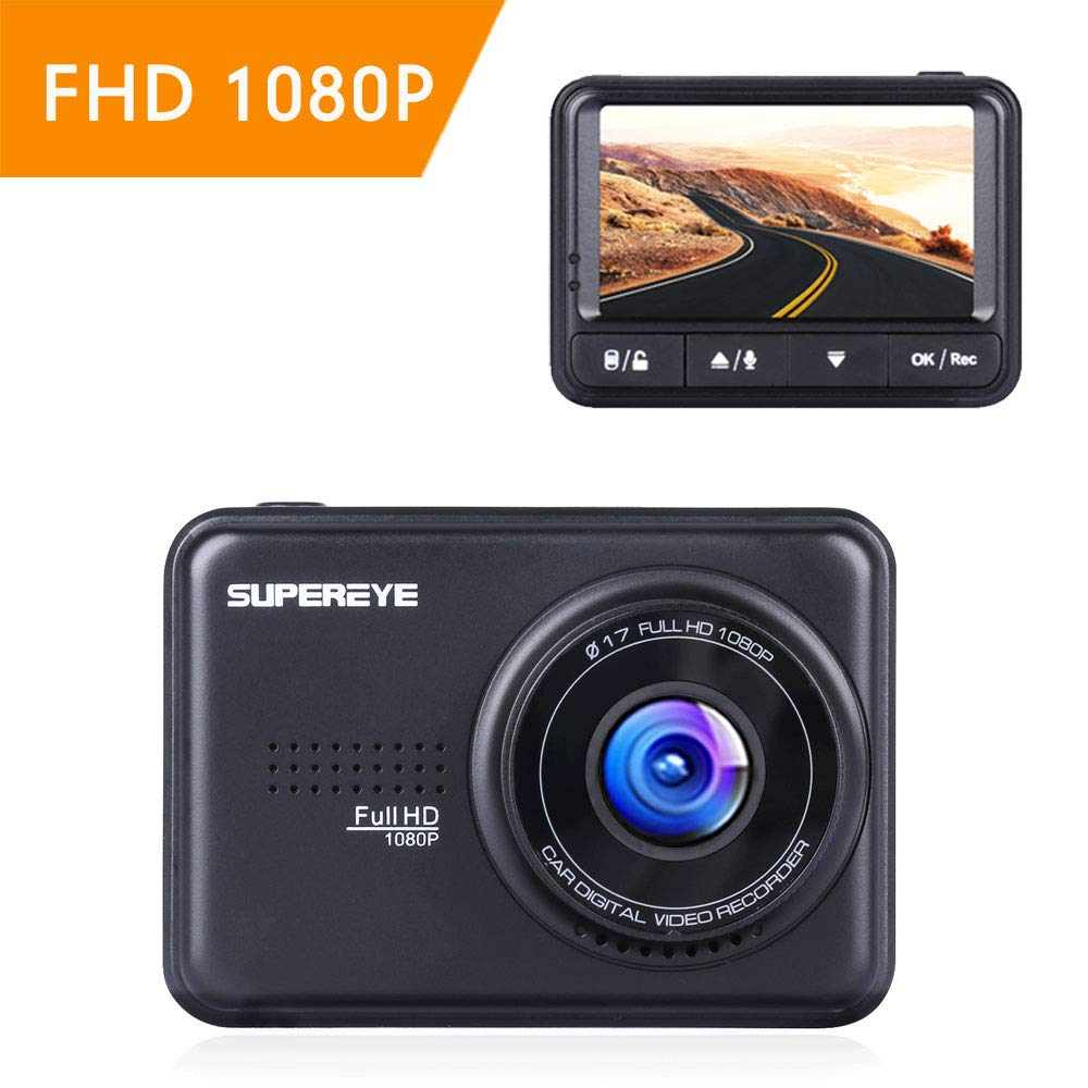 SuperEye Dash Cam Car Camera DashCam 1080P Dash Camera with Sony Sensor, Super Night Vision, 170 Wide Angle Lens, WDR, Loop Recording, G-sensor, Parking Monitoring, Motion Detection