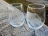 Mama Bear and Papa Bear Clear Stemless Wine Glasses, Set of 2-21 oz