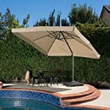 GDF Studio Denise Austin Home Atlantic Outdoor 9.8-foot Canopy Umbrella with Base-Taupe
