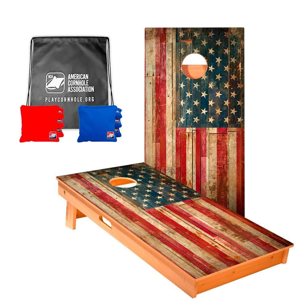 ACA American Cornhole Association Official Cornhole Boards & Bags Set American Flag Design
