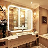 NEUTYPE 35'' x 31'' Backlit Mirror Bathroom Sink Mirror Horizontal and Vertical Wall-mounted LED Vanity Mirror with Touch Button
