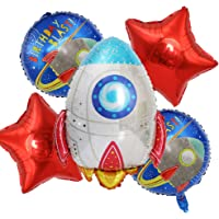 ED-Lumos 5Pcs Rocket Spaceship Reusable Helium Balloons with Red Stars for Birthday Party Decoration Kids Gift