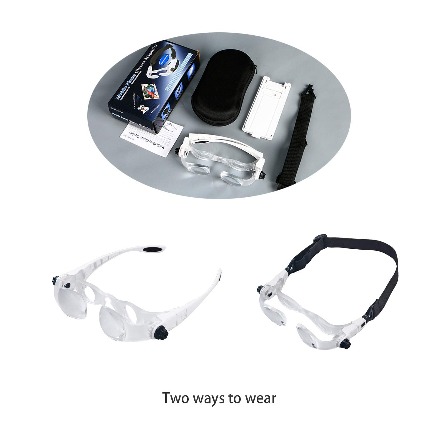 Mufly Adjustable TV Magnifying Glass 1.5X-3.8X Aid 0 to 300 Degree Far-Sightedness/Eye Glasses with Headband Phone Holder