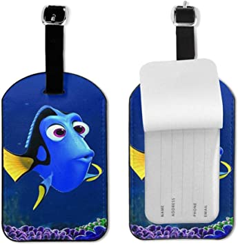 Set of 2 PU Leather Luggage Tags Mickey Mouse Suitcase Labels Bag Adjustable Leather Strap Travel Accessories
