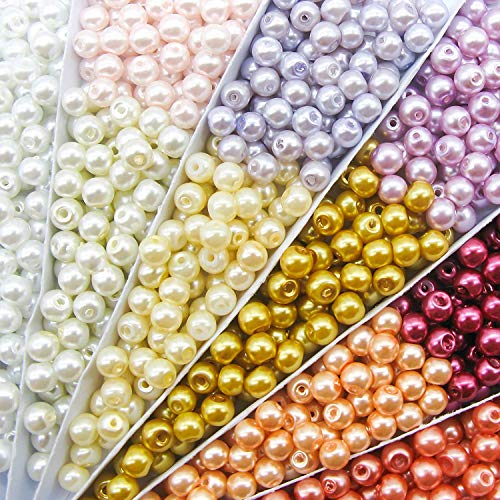 TOAOB 500pcs 6mm Multi Color Round Glass Pearl Beads Loose Spacer Beads kit for DIY Craft Necklaces Bracelets Jewelry Making