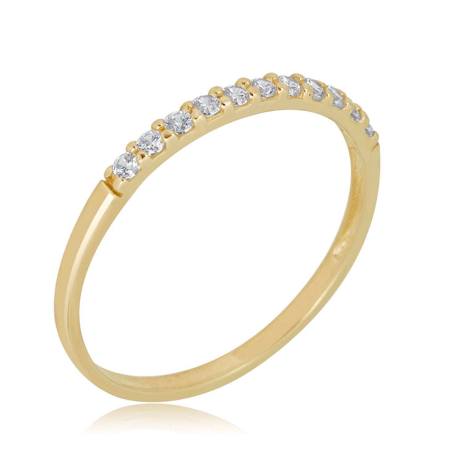 AVORA 10K Yellow Gold Simulated Diamond CZ Half Eternity Band Stackable Ring by AVORA (Image #1)