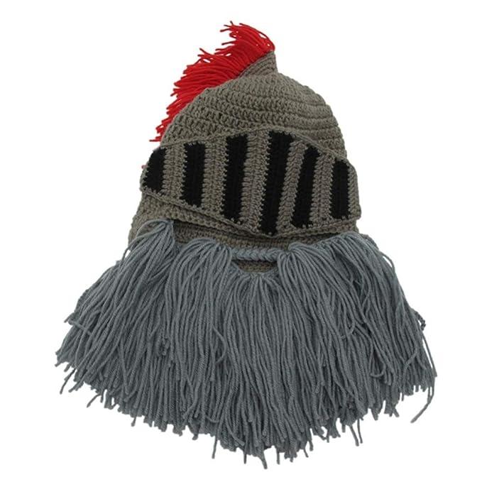Gorro de soldado medieval con barba - Divertido gorro para fiestas de caballero romano.