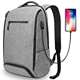 REYLEO Laptop Backpack for Men Women Fits 15.6 Inch Laptop, with Shoe Compartment, External USB Charging Port, Water Resistant, for Travel Business Trip Work School College, 22L (Flecking Gray)