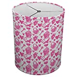 Hardback Linen Drum Cylinder Lamp Shade 8'' x 8'' x 8'' Spider Construction [ Pink White Love Cupcake ]