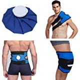 """Koo-Care Pain Relief Hot Cold Therapy Reusable Ice Bag Pack & Wrap for Head, Shoulder, Back, Knee etc.(9"""", Dark Blue)"""