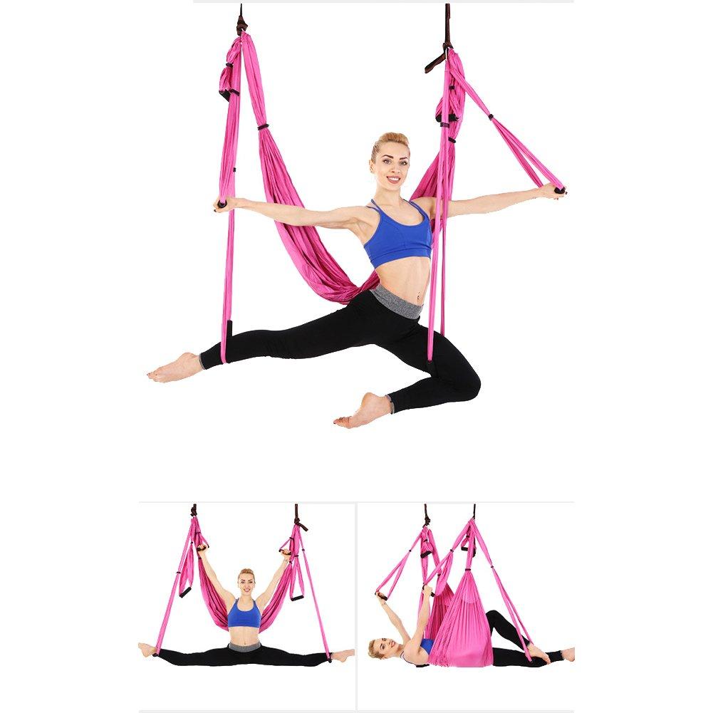 Juego de hamaca de yoga para ejercicios de inversión de yoga antigravedad, rosa: Amazon.es: Deportes y aire libre