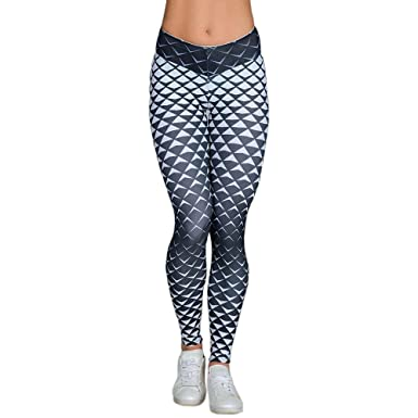 d9f681c5e240d Celucke Yoga Pants 3D Diamond Print, Tummy Control, Workout Tights Running  Leggings for Women: Amazon.co.uk: Clothing