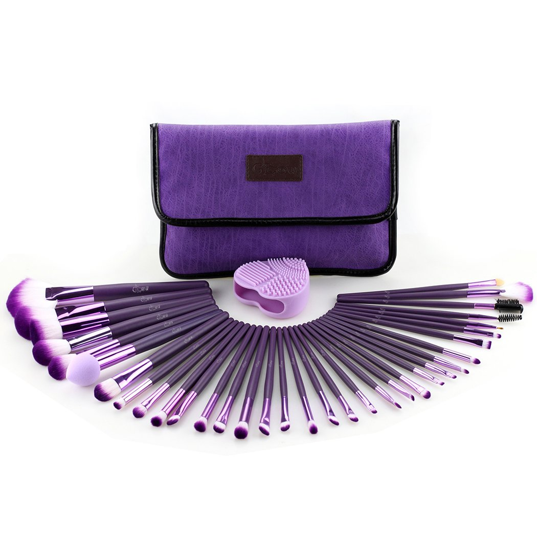 Glow Purple Professional Make-up brush set; contain 34 make up brushes, 1 makeup brushes cleaner/scrubber and 1 makeup brushes bag/makeup brush holder