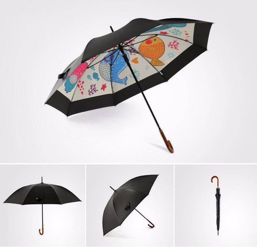 CNBBGJ Lungo Ombrelloni in legno uomini extra large double creativi piegato maniglia semi-automatico ombrello pioggia o a doppio uso ombrellone