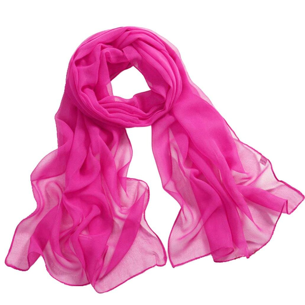 Deamyth Women Chiffon Scarves Lady Soft Long Shawl Wrap Scarf Solid Color (Hot Pink)