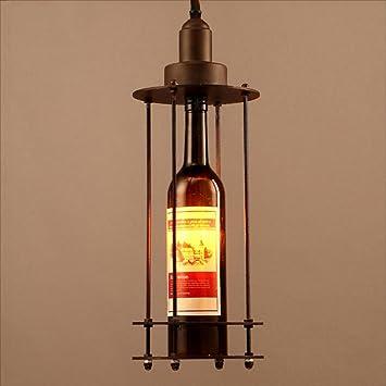 Lámpara Pendiente Loft Retro Lámpara de Cristal de Hierro ...