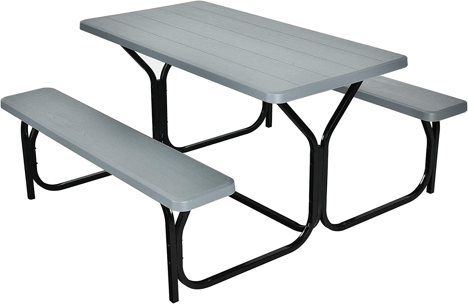 Giantex Picnic Table Bench Set Outdoor Camping All Weather Metal Base Wood-Like Texture Backyard Poolside Dining Party Garden Patio Lawn Deck Furniture Large Camping Picnic Tables for Adult (Gray)