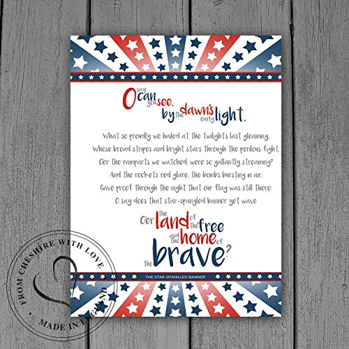 The Star Spangled Banner Lyrics - Illustrative Quote Print. Available in 2 Sizes As Either A Print or Matted Print. USA Quote Print.