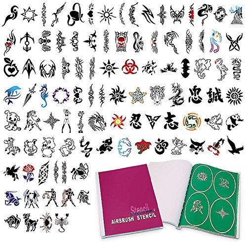 PointZero Complete Temporary Tattoo Airbrush Set - 6 Airbrushes with Compressor and 300 Stencils by PointZero Airbrush (Image #8)