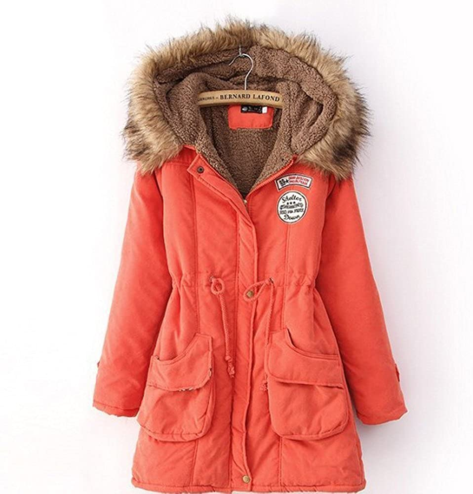 Spring Fever Womens Winter Parka Fur Collar Outerwear Jacket(Orange, XXX-Large)