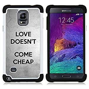 - love doesn't come cheap text grey black/ H??brido 3in1 Deluxe Impreso duro Soft Alto Impacto caja de la armadura Defender - SHIMIN CAO - For Samsung Galaxy Note 4 SM-N910 N910