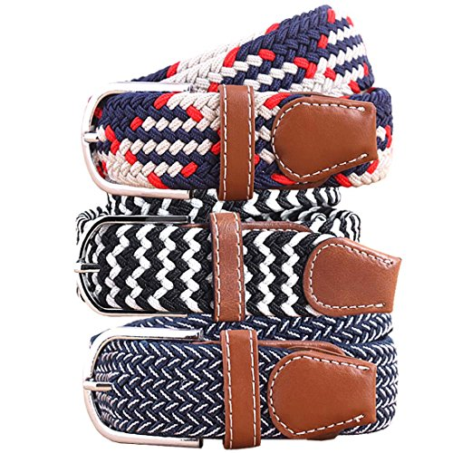 BMC Mens Wear 3pc Stretchy Woven Design Tricolor One Size Adjustable Belt Set - Preppy Hipster