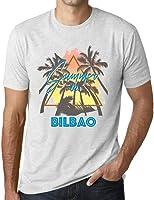 One in the City Hombre Camiseta Vintage T-Shirt Gráfico Summer Triangle Bilbao Blanco Moteado