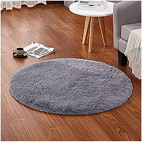 LOCHAS Round Area Rugs Super Soft Living Room Bedroom Home Shaggy Carpet 4-Feet (Gray) (Rugs Bedroom Circle For)