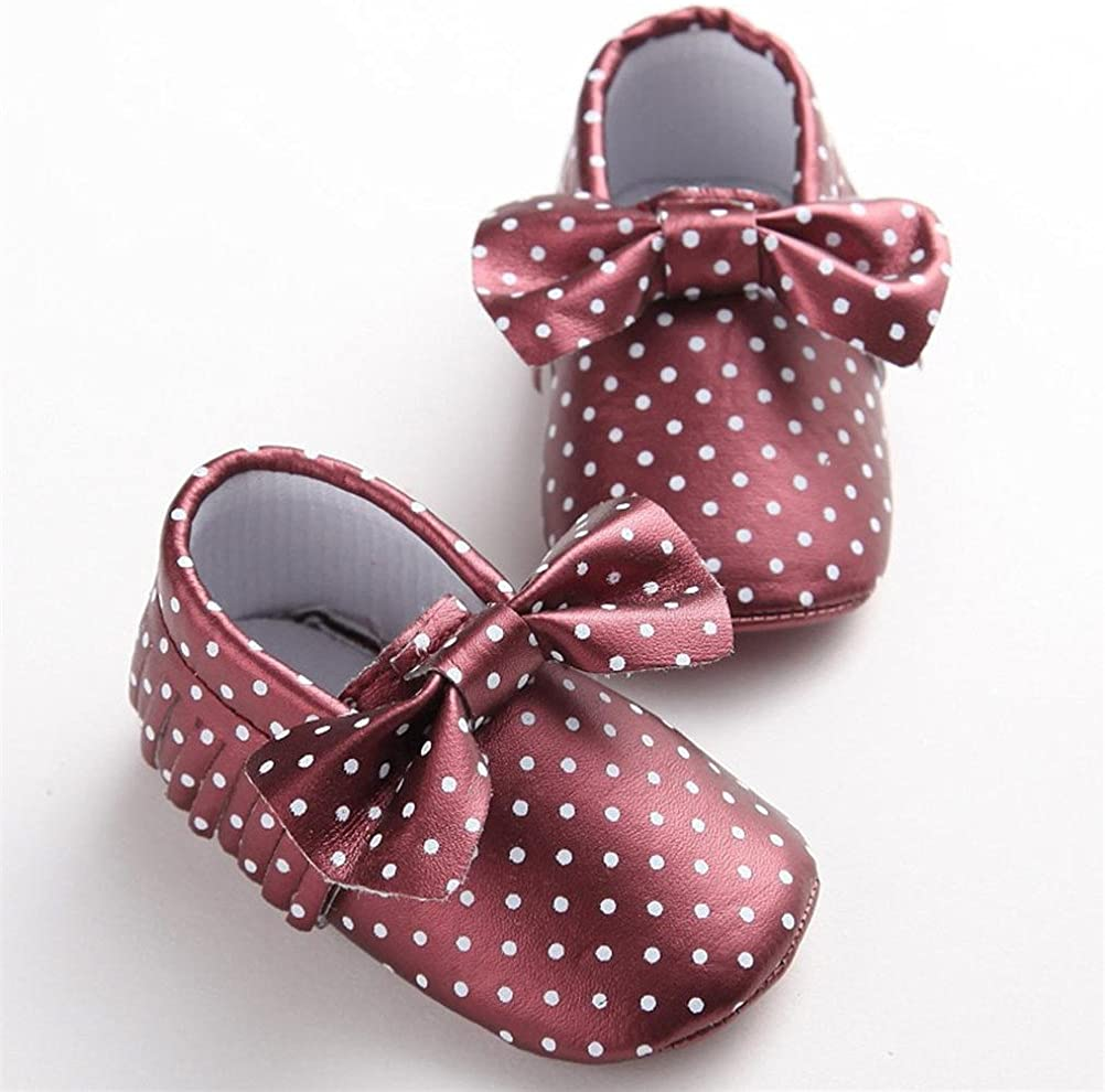 Baby Girl Leather Tassels Shoes,Elaco Toddler Soft Sole Sneakers Casual Shoes 0~6 Month, Wine red