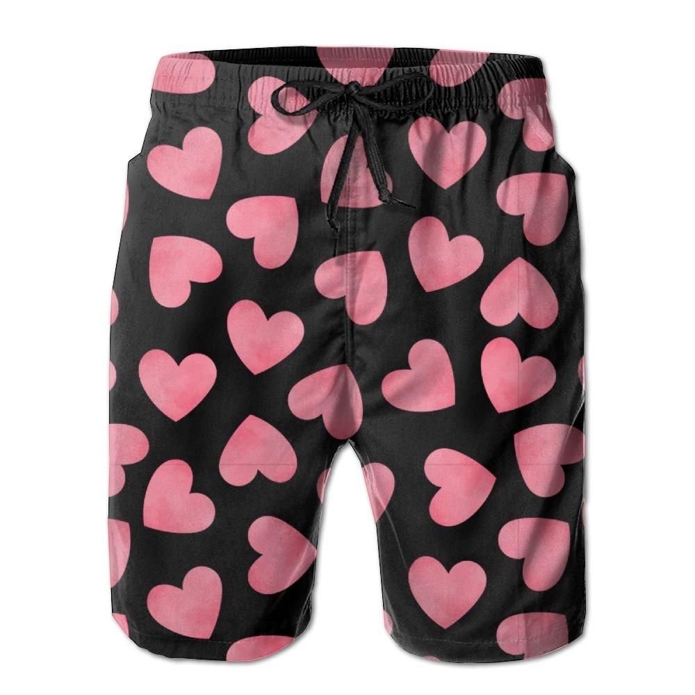 ZAPAGE Boys Pink Love Quick Dry Lightweight Board Shorts Printed Beach Board Shorts with Pocket