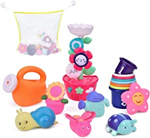 9 PCs Bath Toys for Toddlers, Flower Waterfall Water Station Garden Squirter Toys, Stacking Cups Watering Can, Bath Toy Organizer Included for Kids